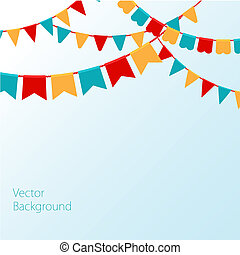 Vector illustration of Blue sky with colorful flags - Vector...