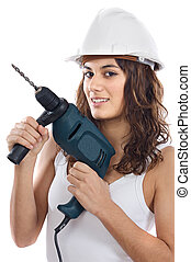 Attractive working woman a over white background