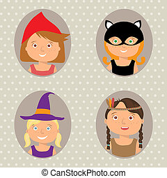 Illustration of Kids Trick or Treating - Vector Illustration...