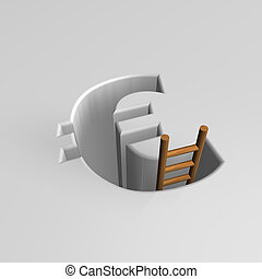 recession - euro sign pit with ladder - 3d illustration