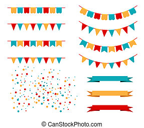 Vector Illustration of Colorful Garlands on white...