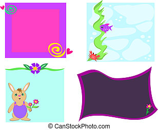 Mix of Frames of Designs, Flowers, Rabbit, and Fish