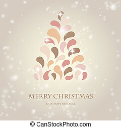 estilizado, diseño, navidad, árbol, con,...