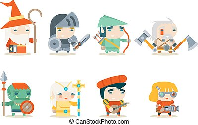 Fantasy RPG Game Character Icons Set Vector Illustration -...
