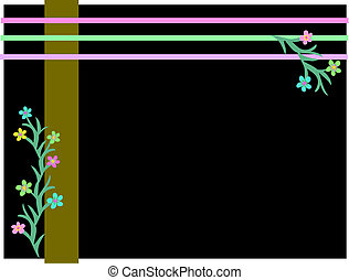 Frame of Stripes and Flowers