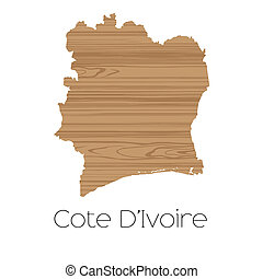 Country Shape isolated on background of the country of Cote...