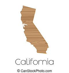 Illustrated Shape of the State of California - An...