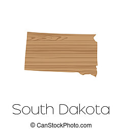 Illustrated Shape of the State of South Dakota - An...