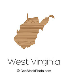 Illustrated Shape of the State of West Virginia - An...