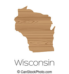 Illustrated Shape of the State of Wisconsin - An Illustrated...