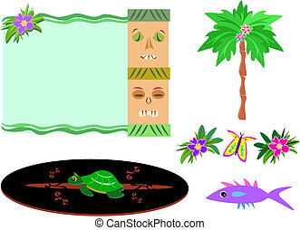 Mix of Tropical Tikis, Palm, Flowers, Surfboard, and Fish