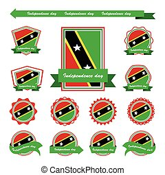 st kitts and nevis independence day flags infographic design...