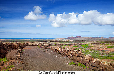 Inland Fuerteventura, view towards Lajares from the Malpais...