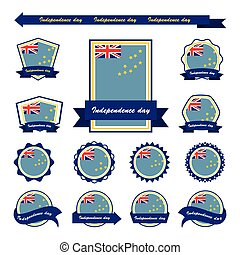 Tuvalu independence day flags infographic design