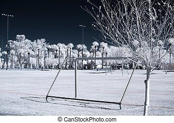 Infrared Tree - Color Infrared tree at on a soccer field