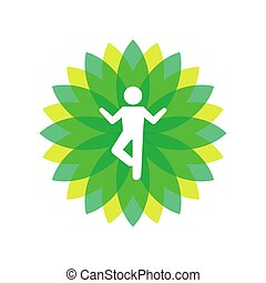 Yoga Lotus Green Icon with People Silhouette. Vector