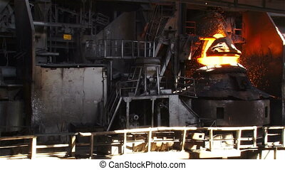 Purging metal. Overall plan - Pouring of liquid metal. Iron...