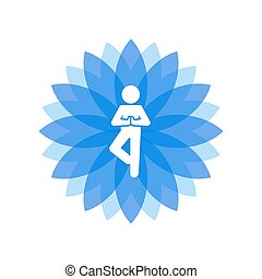 Yoga Lotus Blue Icon with People Silhouette. Vector