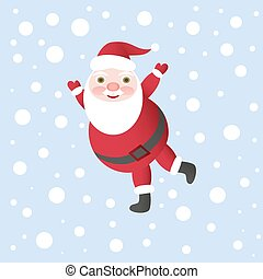 Santa Claus Vector Illustration for Christmas Card, dancing...
