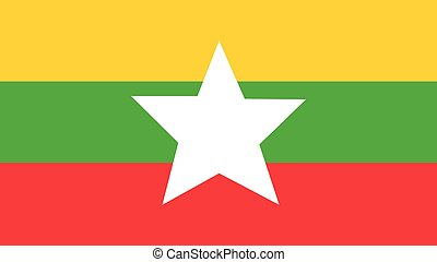 myanmar Flag for Independence Day and infographic Vector illustration.
