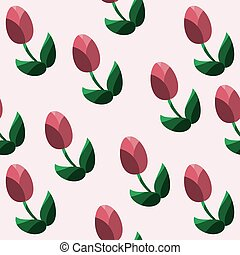 Seamless pattern with red tulips. Vector illustration