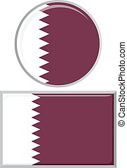 Qatari round and square icon flag Vector illustration -...