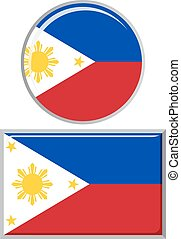 Philippines round and square icon flag Vector illustration -...