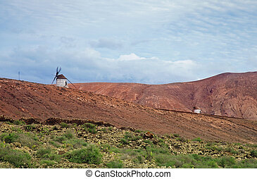 Inland Fuerteventura, windmills between Villaverde and La...
