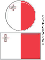 Maltese round and square icon flag Vector illustration -...