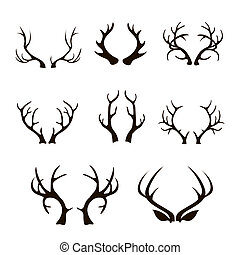 deer antlers silhouette isolated on white.