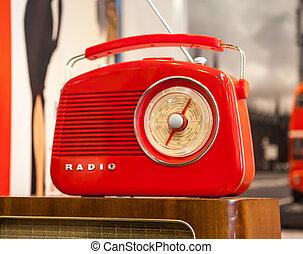 luz,  rádio,  retro, fundo, vermelho