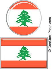 Lebanese round and square icon flag.