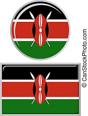 Kenyan round and square icon flag.