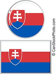 Slovakia round and square icon flag