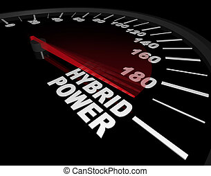 Hybrid Power - Speedometer - A speedometer with red needle...