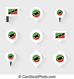 st kitts & nevis flag and pins for infographic, and map...