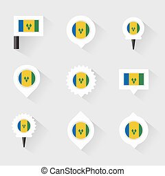st vincent & the grenadines flag and pins for infographic,...