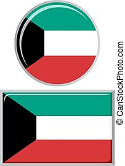 Kuwait round and square icon flag