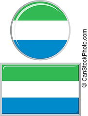 Sierra Leone round and square icon flag