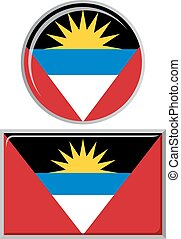 Antigua and Barbuda round, square icon flag