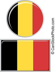 Belgian round and square icon flag