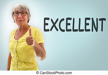 Senior showing thumbs up Exellent concept