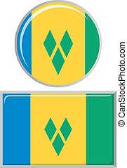 Saint Vincent and the Grenadines round, square icon flag.