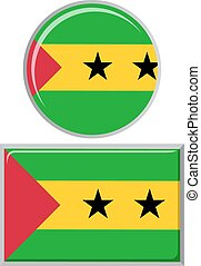 Sao Tome and Principe round, square icon flag.