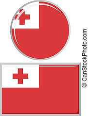 Tonga round and square icon flag