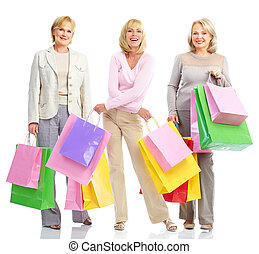 Group of shopping women. - Group of shopping women isolated...