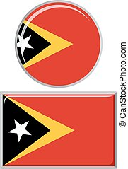 Timor-Leste round and square icon flag