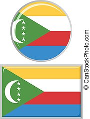 Comoros round and square icon flag