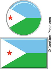 Djibouti round and square icon flag
