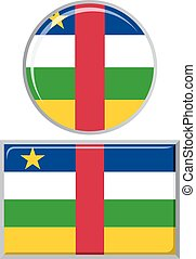 Central African Republic round and square icon flag.